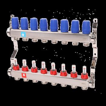 """Коллектор нерж. 1""""х3/4""""Ek. c расходомерами для нап. отопл,  8 контуров  MVI"""