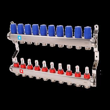 """Коллектор нерж. 1""""х3/4""""Ek. c расходомерами для нап. отопл, 10 контуров  MVI"""