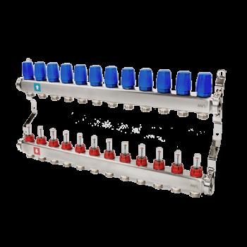 """Коллектор нерж. 1""""х3/4""""Ek. c расходомерами для нап. отопл, 12 контуров  MVI"""
