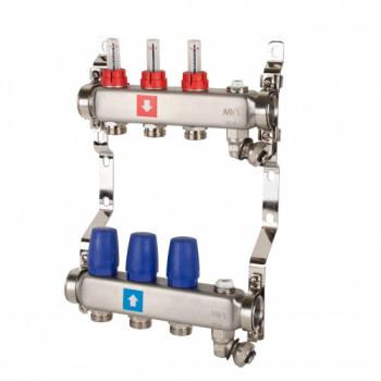 """Коллектор нерж. 1""""х3/4""""Ek. c расходомерами, дренажным краном и воздухоотводчиком  3 контура  MVI"""